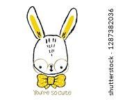 cute bunny hand drawn portrait. ... | Shutterstock .eps vector #1287382036