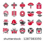 happy chinese new year icon set ... | Shutterstock .eps vector #1287383350