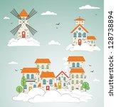 old city background. vector | Shutterstock .eps vector #128738894