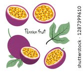 set of passion fruit isolated... | Shutterstock .eps vector #1287399610