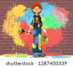 vector illustration of a girl...   Shutterstock .eps vector #1287400339