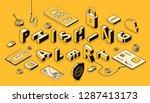 phishing alert isometric vector ... | Shutterstock .eps vector #1287413173