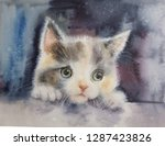 Stock photo tri color little cute sad kitten looks big beautiful eyes on a colored background watercolor 1287423826