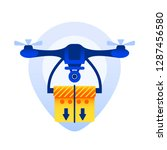 flying quadcopter with box...