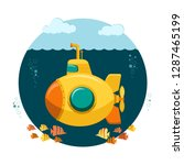 yellow submarine undersea with... | Shutterstock .eps vector #1287465199