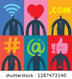 six head   shoulder silhouettes ... | Shutterstock .eps vector #1287473140