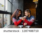 happy and romantic couple in... | Shutterstock . vector #1287488710