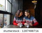 happy and romantic couple in... | Shutterstock . vector #1287488716