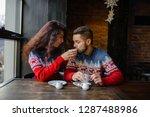 happy and romantic couple in... | Shutterstock . vector #1287488986