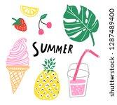 summer vector set. hand drawn... | Shutterstock .eps vector #1287489400