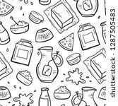 vector food seamless pattern.... | Shutterstock .eps vector #1287505483