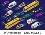 set cars with car lights... | Shutterstock .eps vector #1287506653