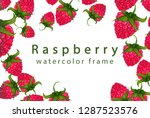 raspberry frame painted by hand ... | Shutterstock . vector #1287523576