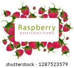 raspberry frame painted by hand ... | Shutterstock . vector #1287523579