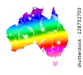australia map rainbow bubble | Shutterstock . vector #128752703