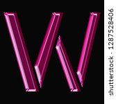 shiny pink glass letter w in a... | Shutterstock . vector #1287528406