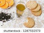 hot drink  green tea with... | Shutterstock . vector #1287532573