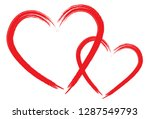 hearts vector. hand drawn icons.... | Shutterstock .eps vector #1287549793