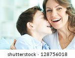 family of ecstatic mother and...   Shutterstock . vector #128756018