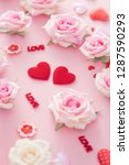 valentine day with red hearts...   Shutterstock . vector #1287590293