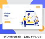 landing page template of online ... | Shutterstock .eps vector #1287594736
