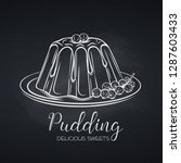 hand drawn pudding icon badge...   Shutterstock .eps vector #1287603433