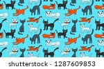 sketch cats cute colorful...   Shutterstock .eps vector #1287609853