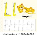 letter l tracing alphabet...   Shutterstock .eps vector #1287616783