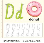 letter d tracing alphabet...   Shutterstock .eps vector #1287616786