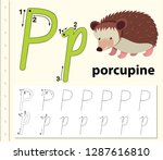 letter p tracing alphabet...   Shutterstock .eps vector #1287616810