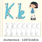 letter k tracing alphabet...   Shutterstock .eps vector #1287616816