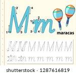 letter m tracing alphabet...   Shutterstock .eps vector #1287616819