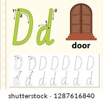 letter d tracing alphabet...   Shutterstock .eps vector #1287616840