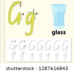 letter g tracing alphabet...   Shutterstock .eps vector #1287616843