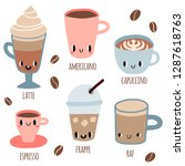 set of coffee with smile faces. ... | Shutterstock .eps vector #1287618763