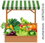 vegetable on wooden shelf... | Shutterstock .eps vector #1287620116