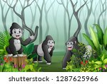 a group of gorillas in a forest ... | Shutterstock .eps vector #1287625966