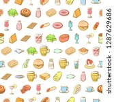 american food  cheeses  drinks  ... | Shutterstock .eps vector #1287629686