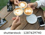 group of friends cheers with... | Shutterstock . vector #1287629740