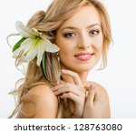 beautiful smiling woman with a...   Shutterstock . vector #128763080
