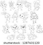 the animals in action. hand...   Shutterstock .eps vector #1287631120