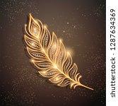 golden feather brooch... | Shutterstock .eps vector #1287634369