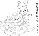 the two rabbits and the snail....   Shutterstock .eps vector #1287640039