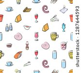 cheeses  cutlery  drinks ... | Shutterstock .eps vector #1287644593