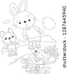 the two rabbits and the frog...   Shutterstock .eps vector #1287645940