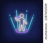 singer neon sign. glowing... | Shutterstock .eps vector #1287652039