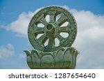 stucco work dharma wheel | Shutterstock . vector #1287654640