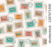hand drawn vector travel stamp... | Shutterstock .eps vector #1287671500