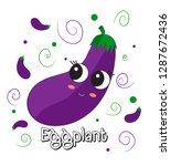 sweet  cute eggplant cartoon... | Shutterstock .eps vector #1287672436