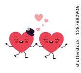 hearts love kawaii character | Shutterstock .eps vector #1287682906
